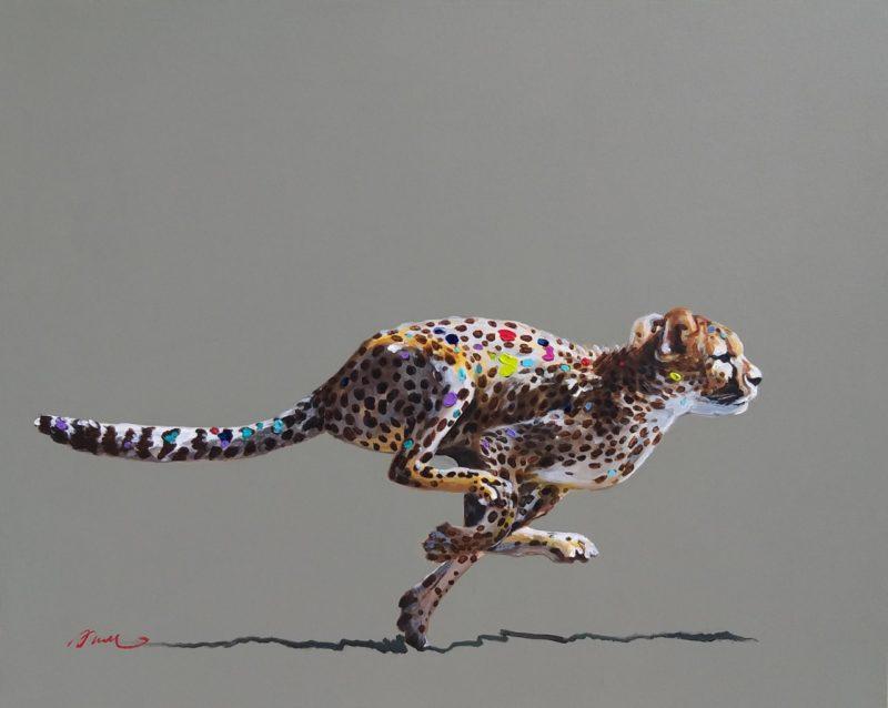 Aleth de ROMEMONT-PAULE , guépard smarties , acrylique sur toile